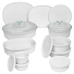 Corningware® Set de 18 piezas redondas y ovaladas French White